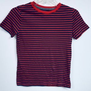 Boys Old Navy Light Red And Blue Striped Shirt